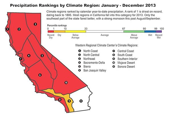 Precipitation Rankings by Climate Region graphic
