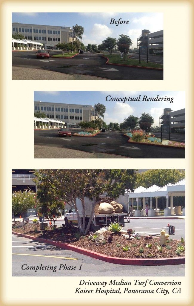 Before and after landscape photos of Kaiser Hospital