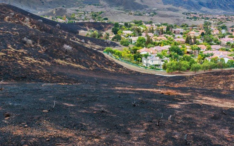 Burn scar on a hill that shows that a fire got very close to homes.
