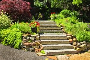 Concrete and stone stairway outdoors